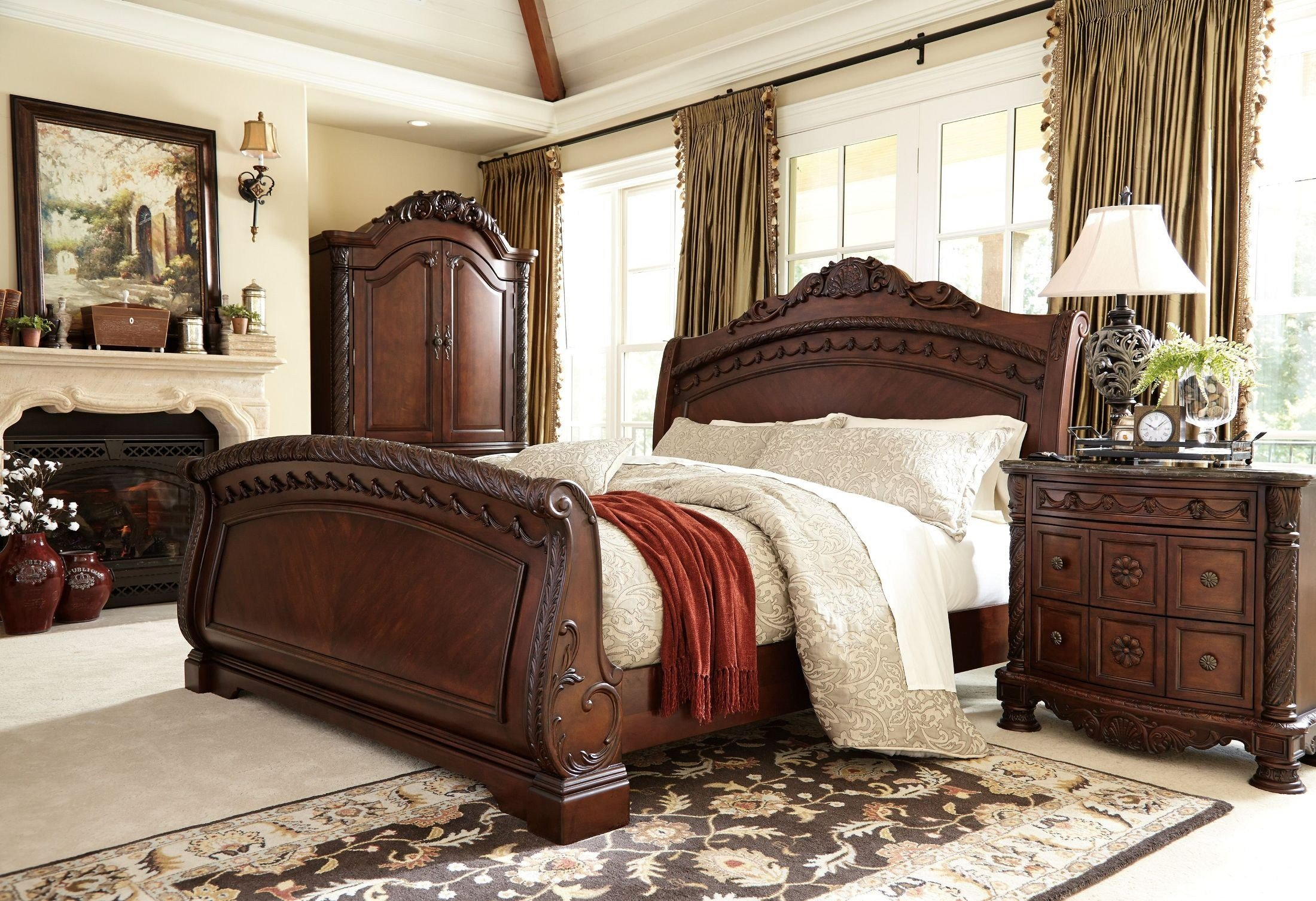 Best North Shore Sleigh Bedroom Set From Ashley B553 With Pictures