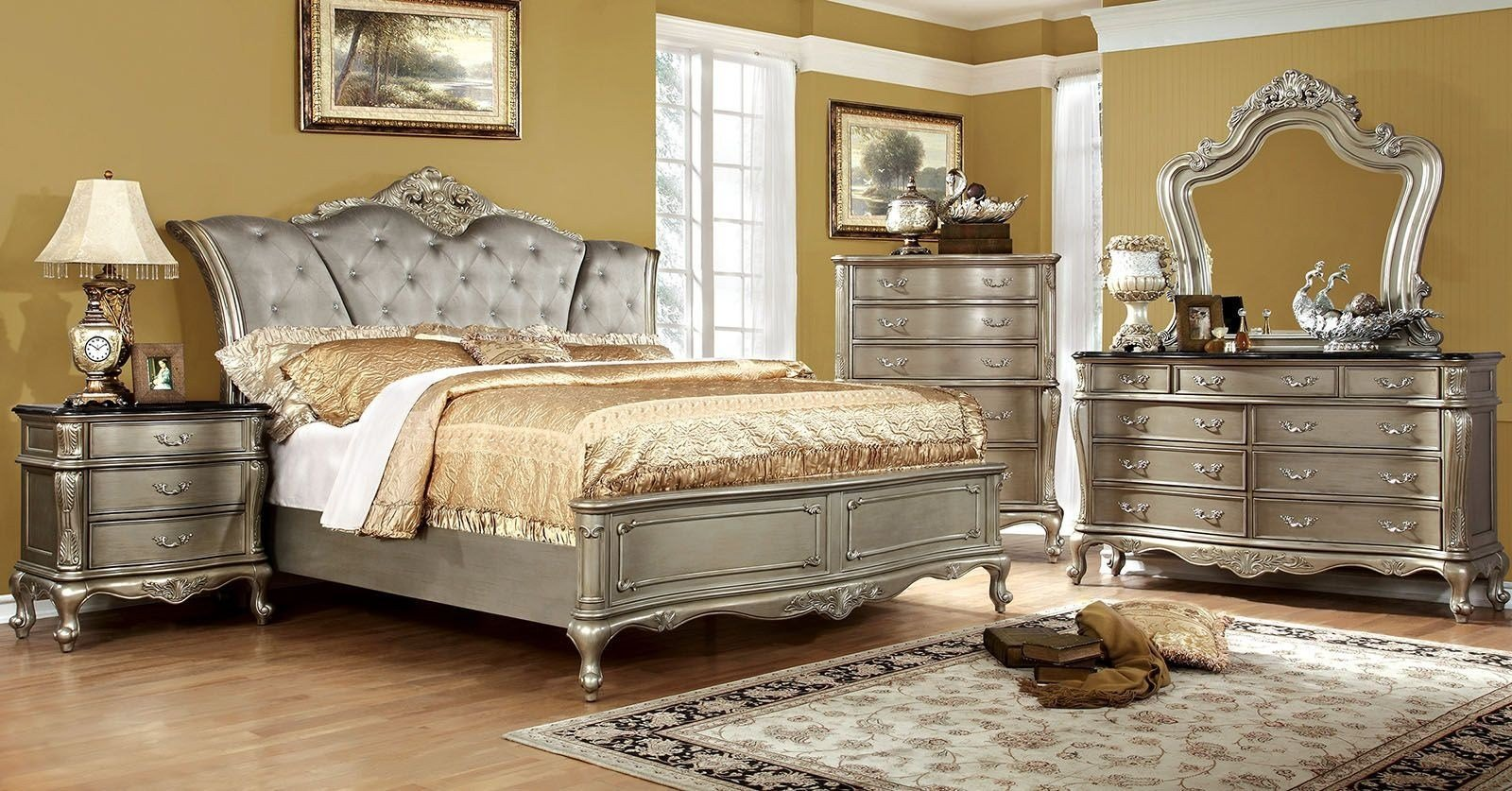 Best Johara Gold Upholstered Bedroom Set From Furniture Of With Pictures