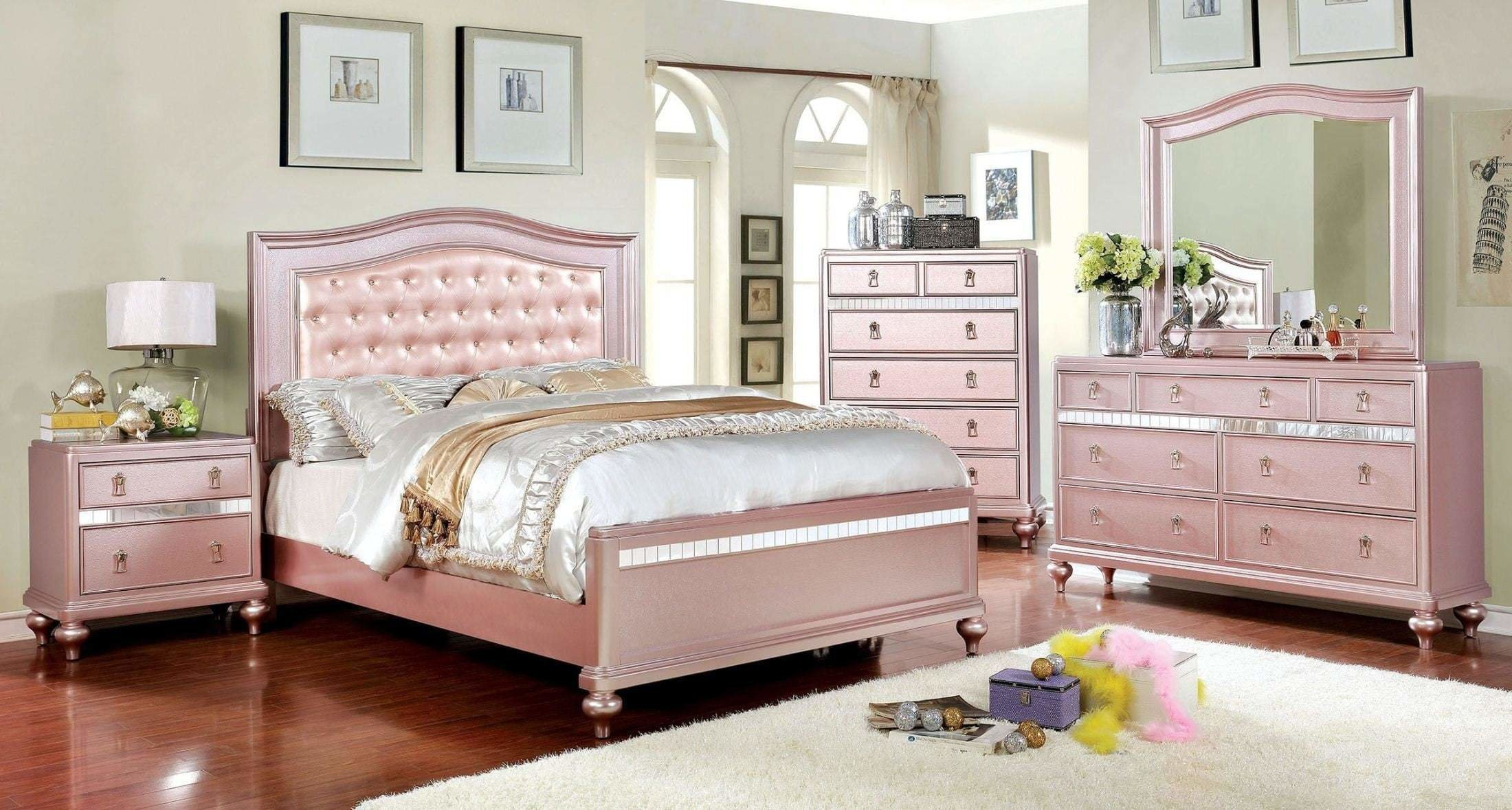 Best Ariston Rose Gold Youth Upholstered Panel Bedroom Set From With Pictures