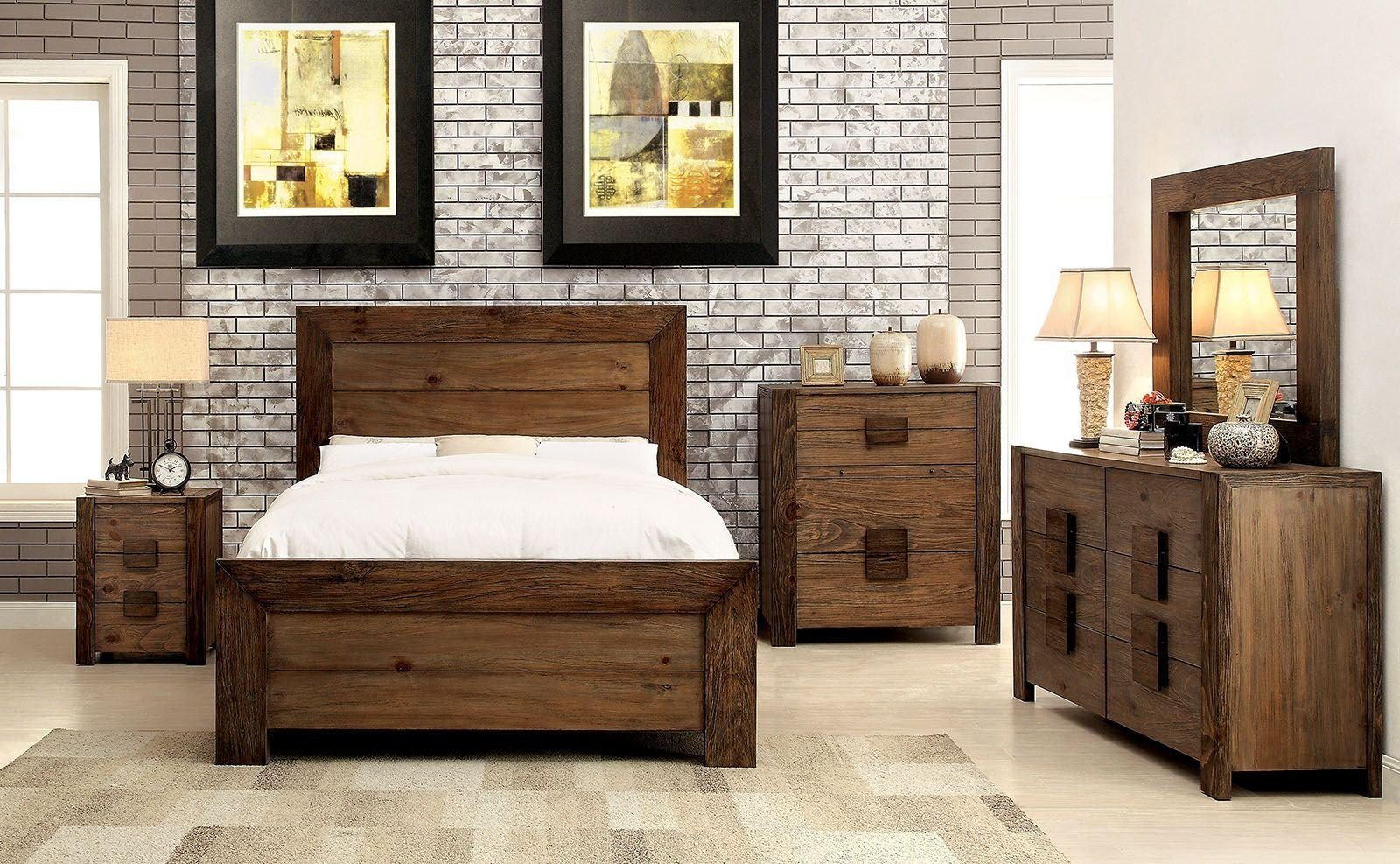 Best Aveiro Rustic Natural Panel Bedroom Set From Furniture Of With Pictures