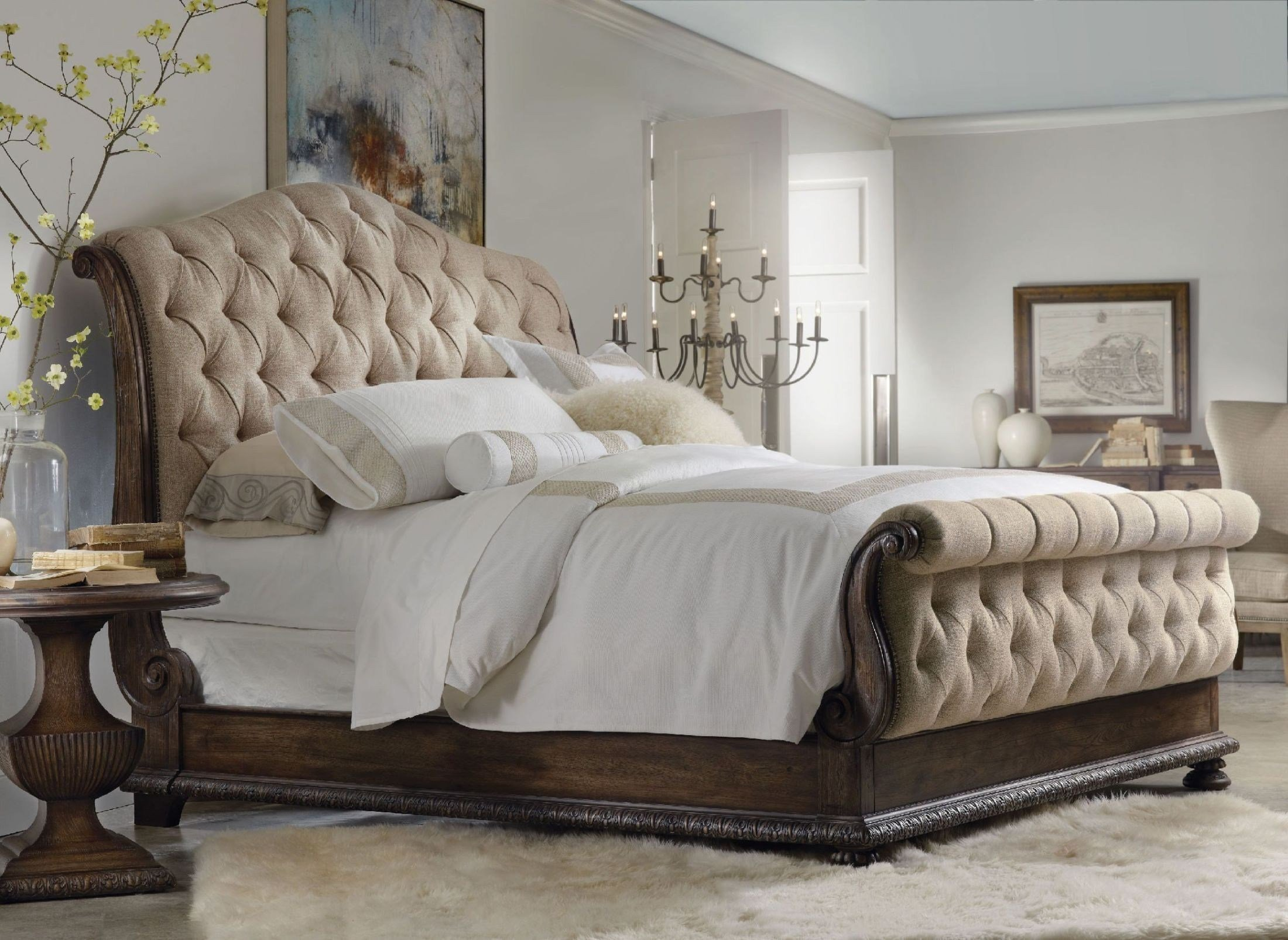 Best Rhapsody Beige Tufted Sleigh Bedroom Set From H**K*R With Pictures