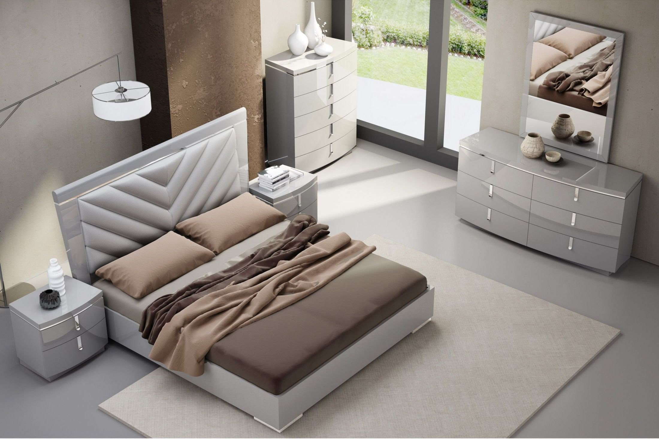 Best New York Gray Upholstered Platform Bedroom Set From Jnm With Pictures