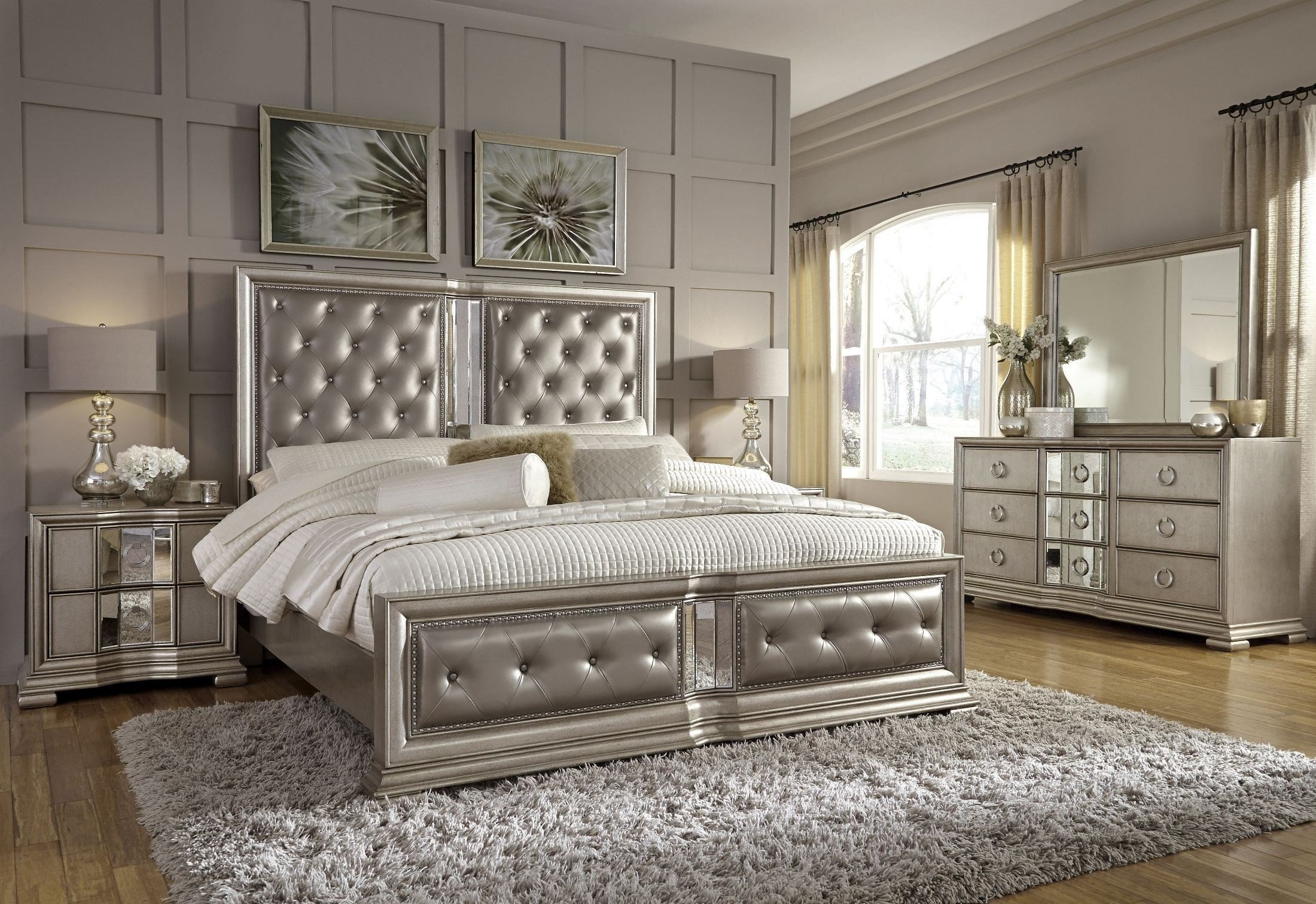 Best Couture Silver Panel Bedroom Set From Pulaski Coleman Furniture With Pictures