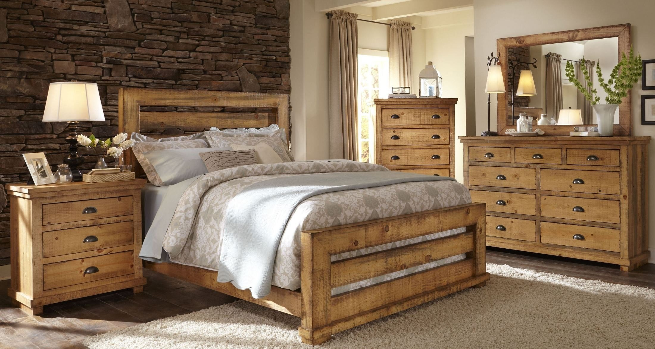 Best Willow Distressed Pine Slat Bedroom Set From Progressive With Pictures