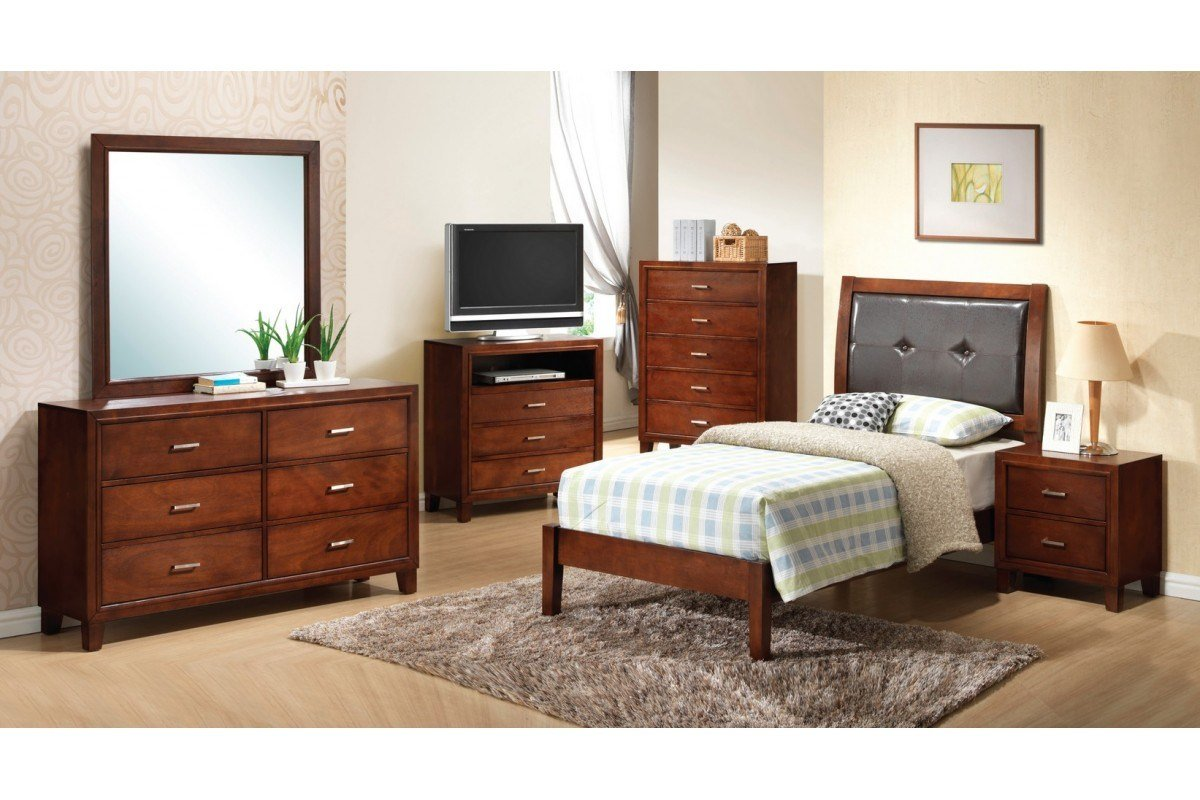 Best Bedroom Sets Jett Brown Twin Size Bedroom Set Newlotsfurniture With Pictures