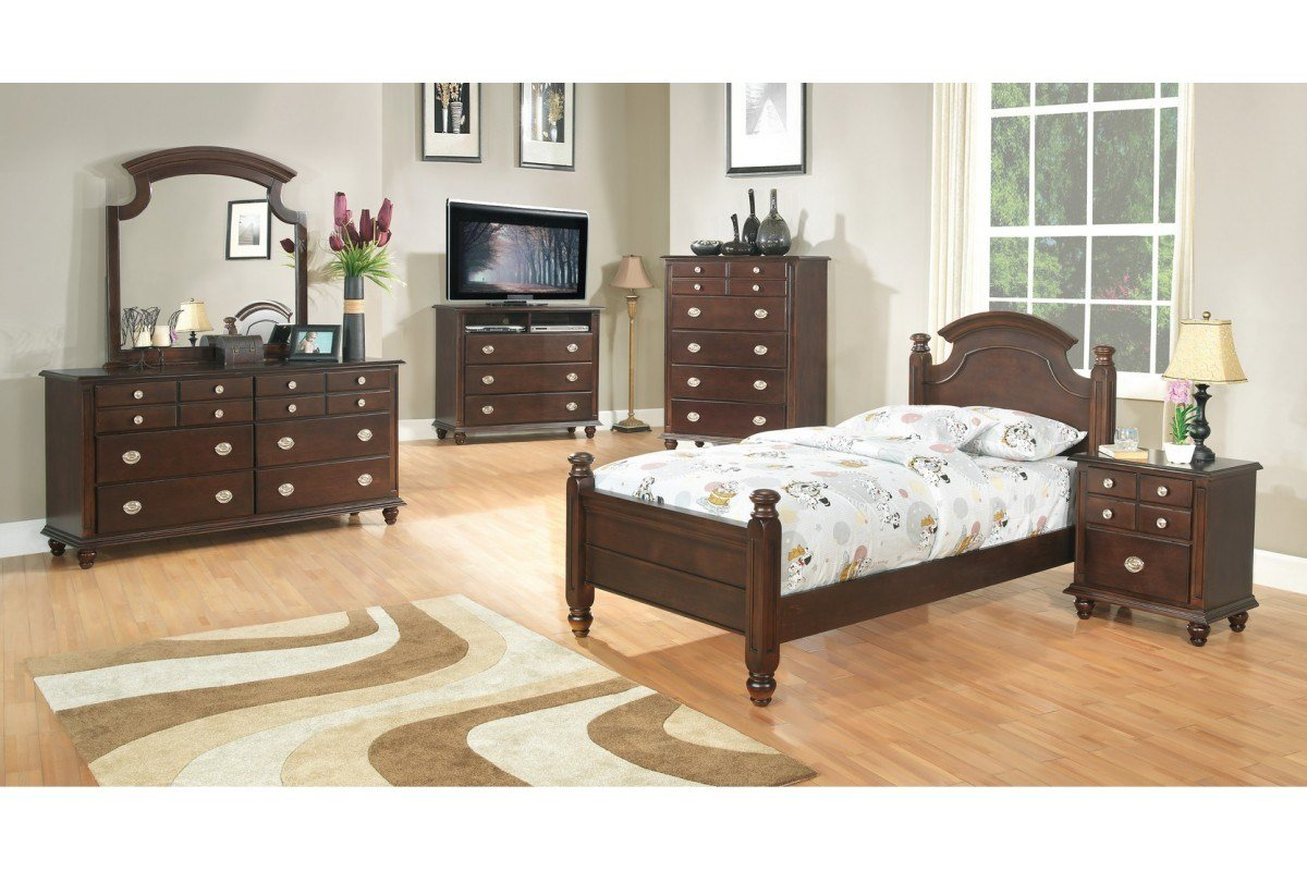 Best Bedroom Sets Freemont Cappuccino Twin Size Bedroom Set Newlotsfurniture With Pictures