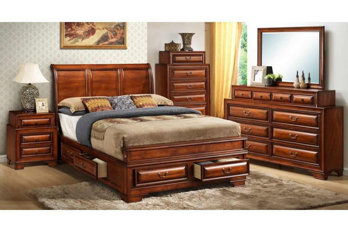 Best Bedroom Sets South Coast Cherry King Size Storage Bedroom Set Newlotsfurniture With Pictures
