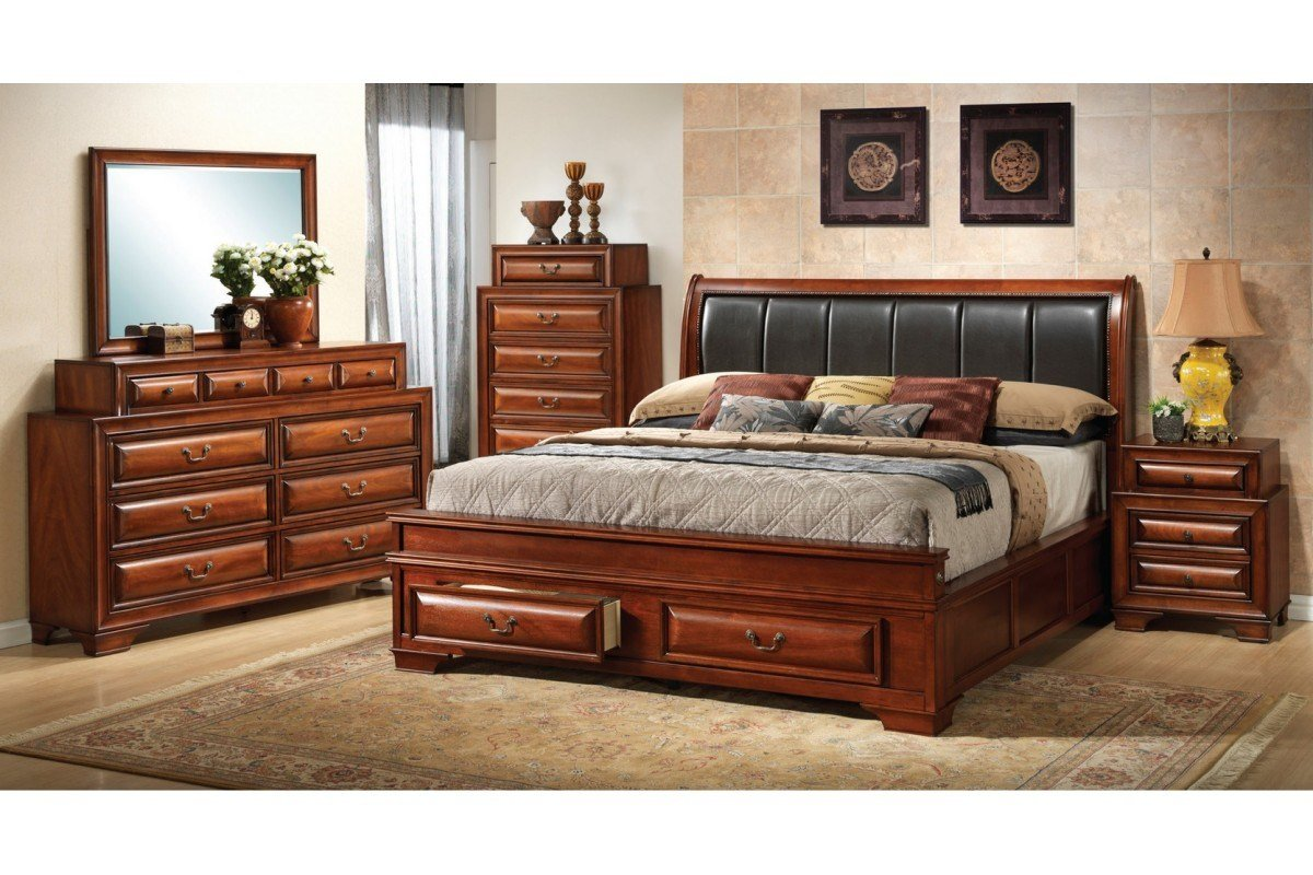 Best Bedroom Sets North Coast Cherry King Size Storage Bedroom Set Newlotsfurniture With Pictures