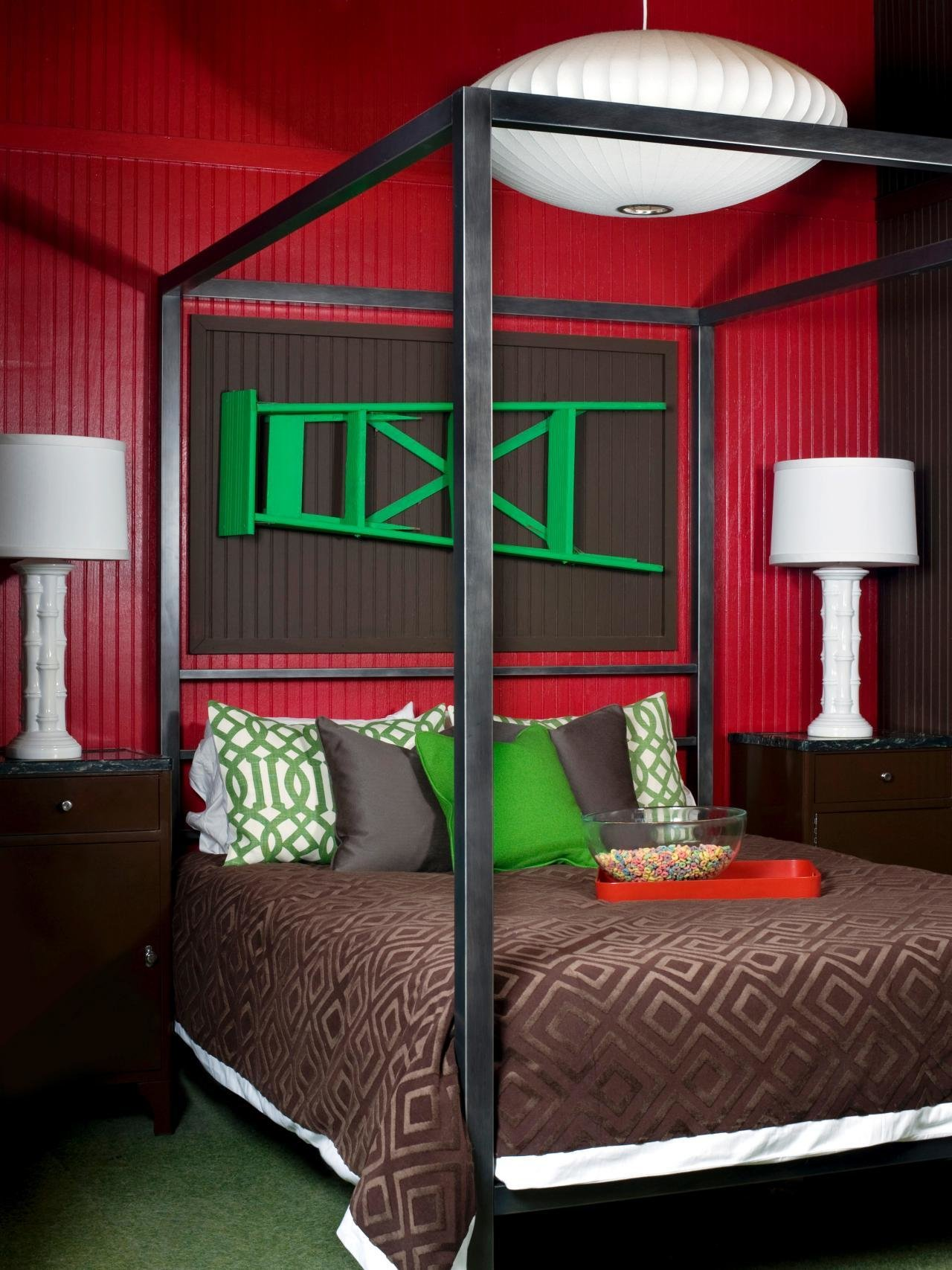 Best Red Bedroom With Green Accents Hgtv With Pictures