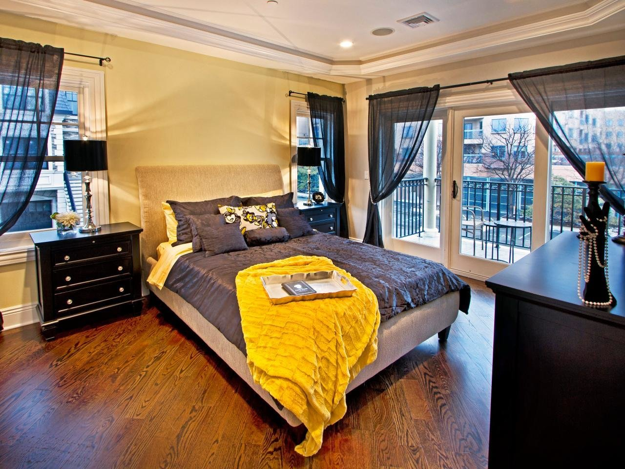 Best Black And Yellow Bedroom With Balcony Hgtv With Pictures