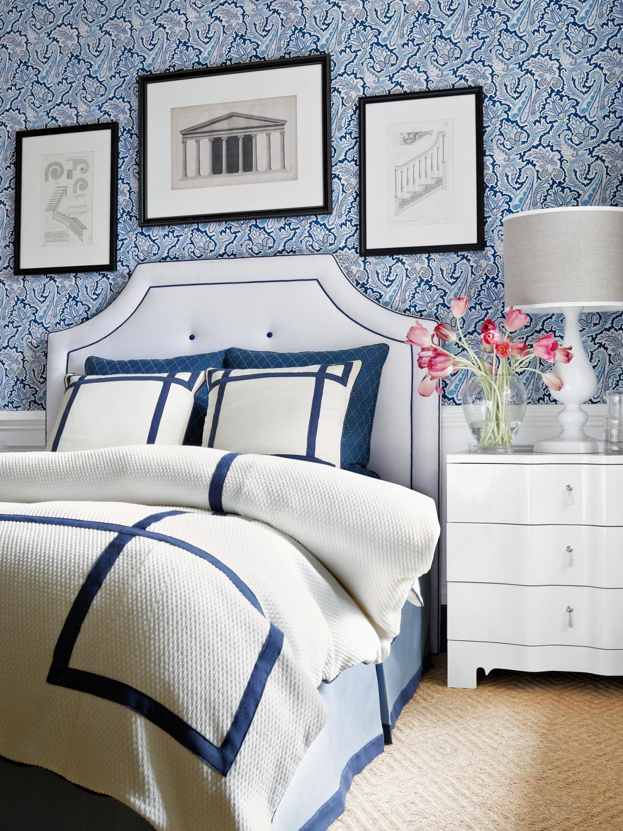 Best Navy Blue And White Bedroom With Paisley Wallpaper Hgtv With Pictures