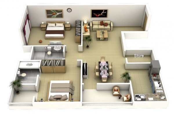 Best 20 Interesting Two Bedroom Apartment Plans Home Design Lover With Pictures
