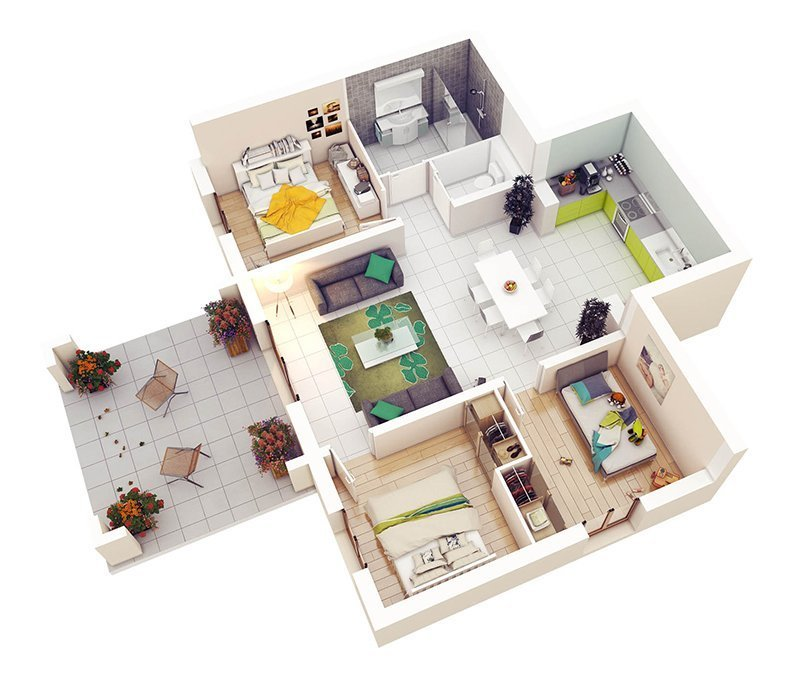 Best 20 Designs Ideas For 3D Apartment Or One Storey Three With Pictures