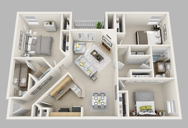 Best 20 Designs Ideas For 3D Apartment Or One Storey Three Bedroom Floor Plans Home Design Lover With Pictures