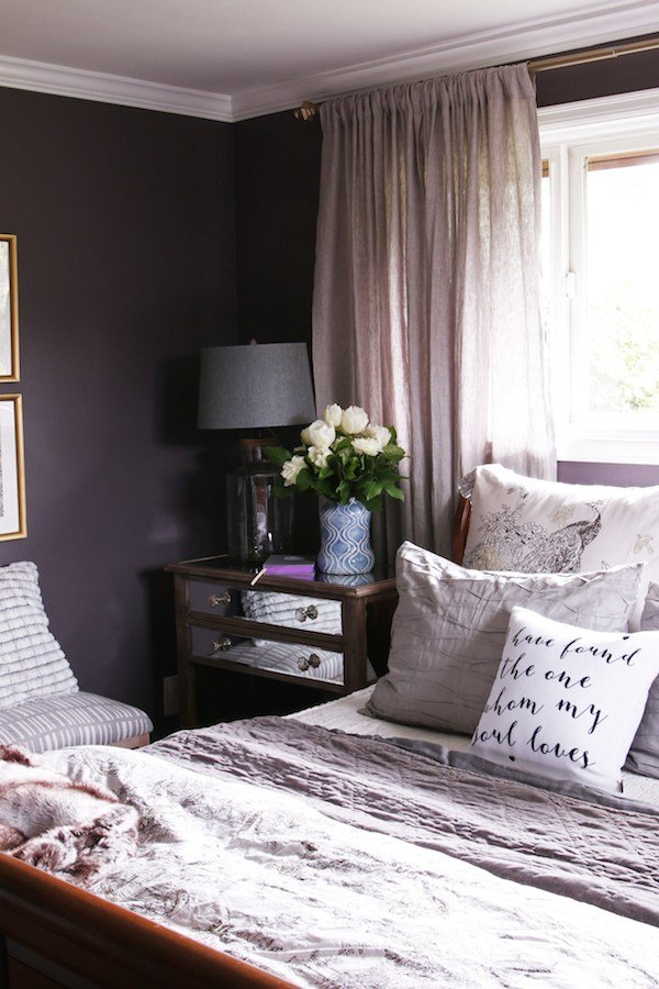 Best Master Bedroom Sneak Peek Black Frosted Plum Walls The Inspired Room With Pictures