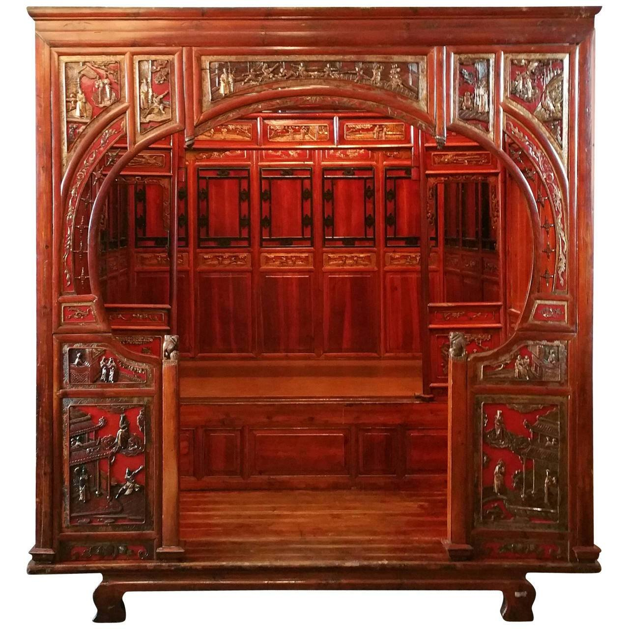 Best Antique Chinese Carved Canopy Bed With Alcove For Sale At With Pictures