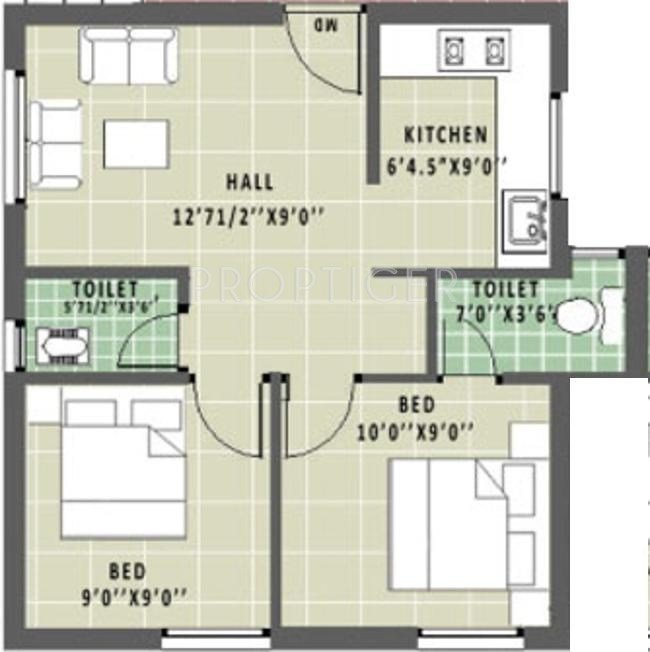 Best 600 Sq Ft 2 Bhk 2T Apartment For Sale In Annai Aathika With Pictures