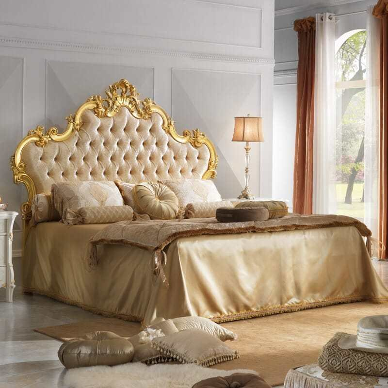 Best Grand Button Upholstered Gold Leaf Rococo Bed With Pictures