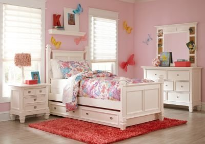 Best Belmar White 5 Pc Full Poster Bedroom T**N Bedroom Sets With Pictures