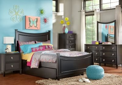 Best Jaclyn Place Black 5 Pc Full Bedroom T**N Bedroom Sets Black With Pictures