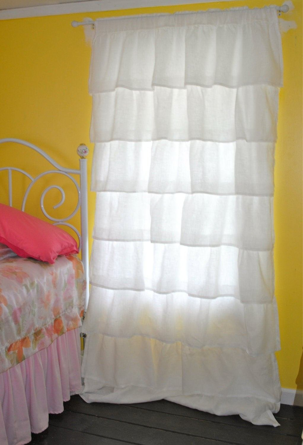 Best White Ruffled Linen Curtains By Paulaanderika On Etsy With Pictures
