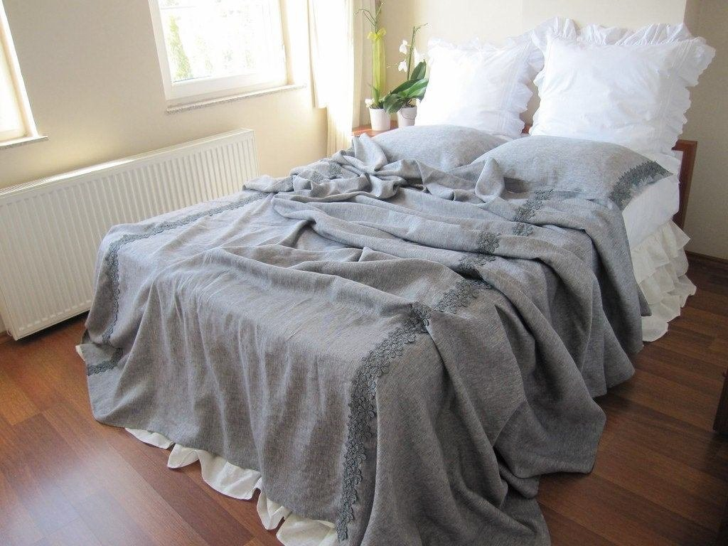 Best Grey Shabby Chic Bedding Gray Linen Queen Or King Size With Pictures