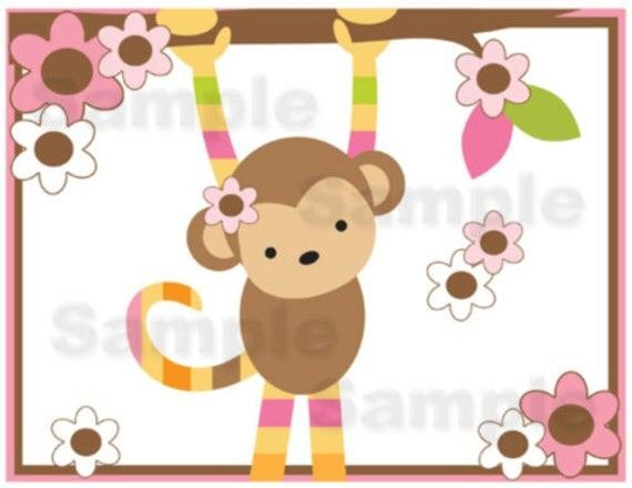 Best Mod Monkey Wallpaper Border Wall Decals Baby Girl By With Pictures