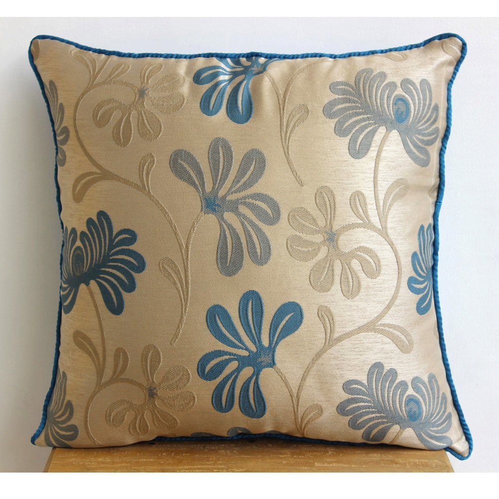 Best Teal Blue Decorative Pillow Cover Square Teal And Ivory With Pictures