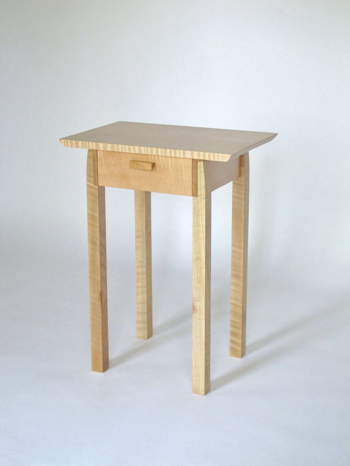 Best Narrow End Table With Drawer Tiger Maple Nightstand Bed Side With Pictures