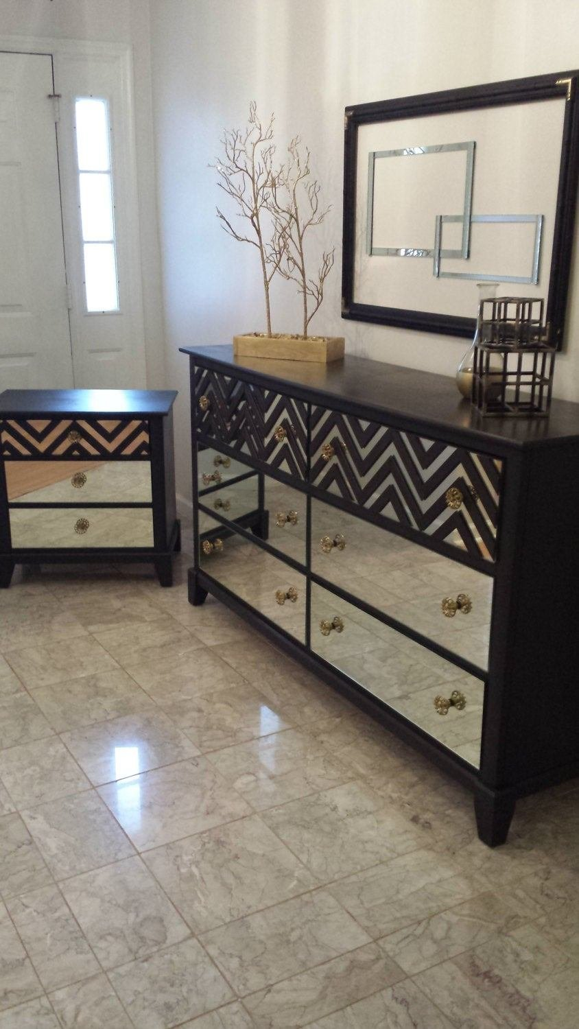 Best Mirrored Bedroom Dresser Set Black With Chevron By With Pictures