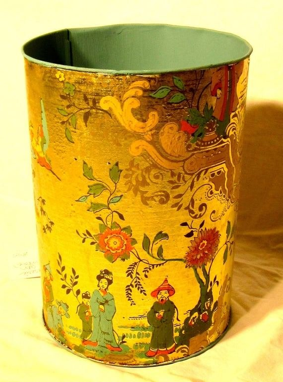 Best Gold Oriental Wastebasket Bedroom Decor Metal Trash Can With Pictures