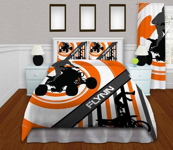 Best Orange Motocross Bedding Sets Dirt Bike By Eloquentinnovations With Pictures