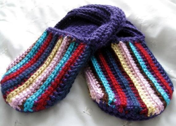 Best Size 7 Crochet House Slippers Multicolor Bedroom Shoes By Wuglyees With Pictures