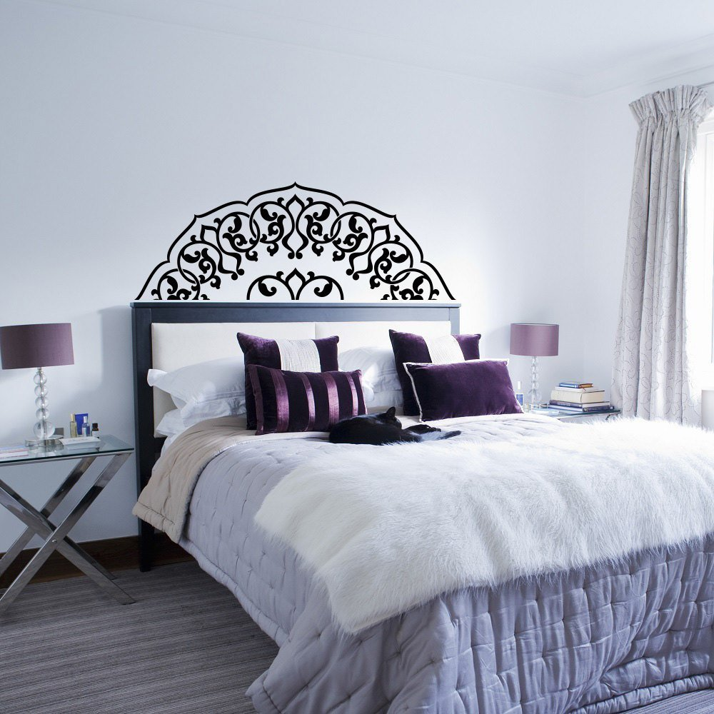 Best Headboard Wall Decal Bedroom Headboard Decal Half Mandala With Pictures