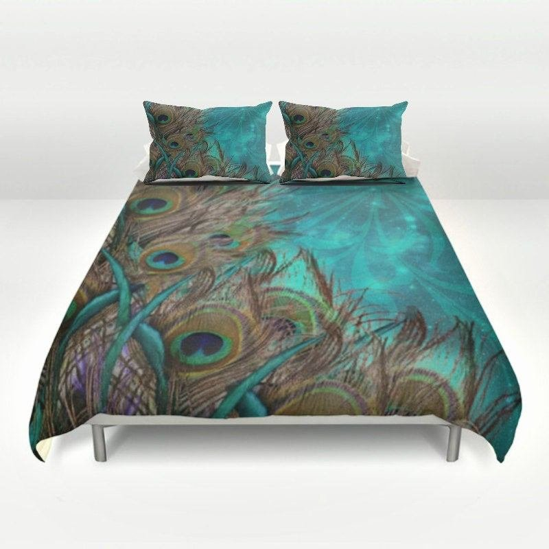 Best Teal Peacock Duvet Set Peacock Bedding Teal By Folkandfunky With Pictures