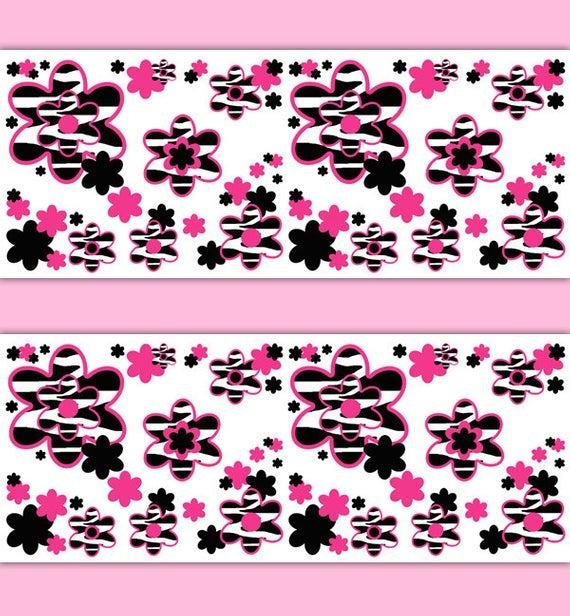 Best Hot Pink Zebra Animal Print Wallpaper Border Floral Wall Decal With Pictures