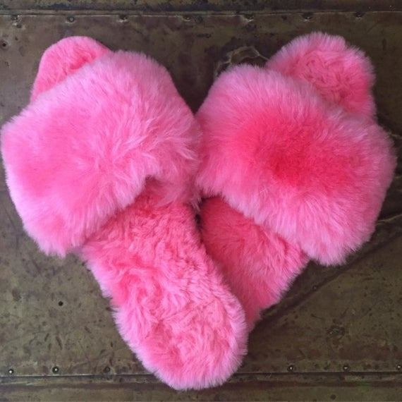 Best Vintage Glam Boudoir Fuzzy Slippers Pink Bedroom Slippers With Pictures