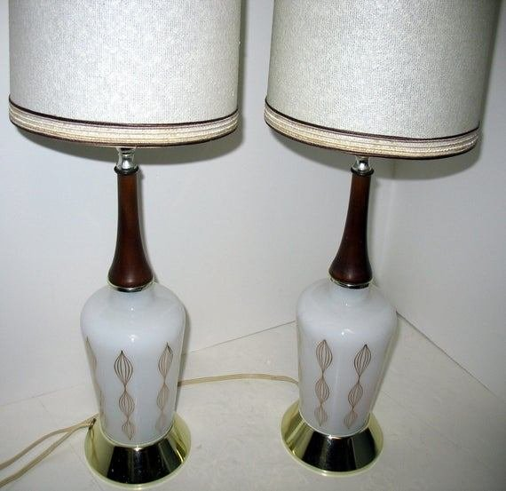 Best Vintage Mid Century Modern Table Lamps Bedroom End White Gold With Pictures