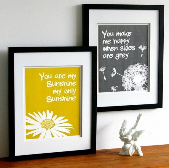 Best You Are My Sunshine Print Set Yellow And Grey Custom With Pictures