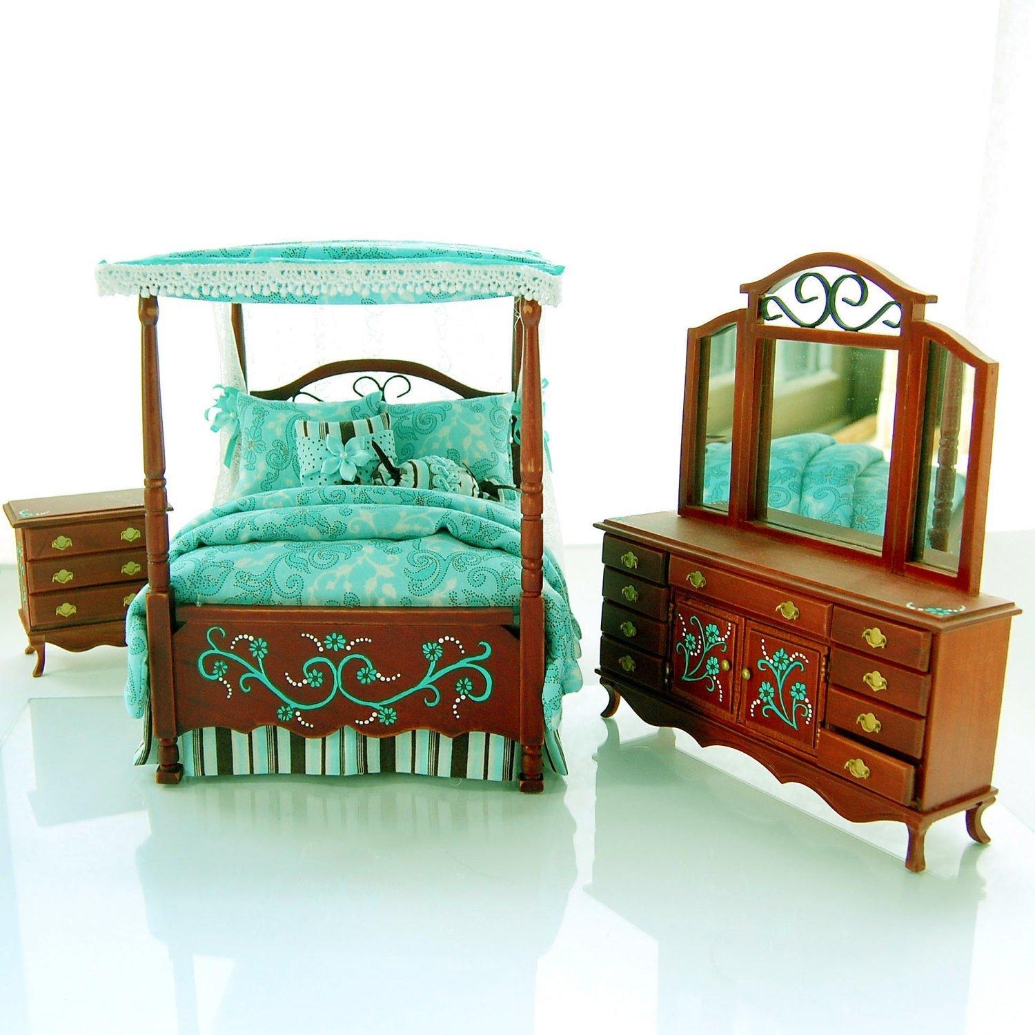 Best Teal Chocolate Brown Victorian Canopy Bedroom Set With Pictures