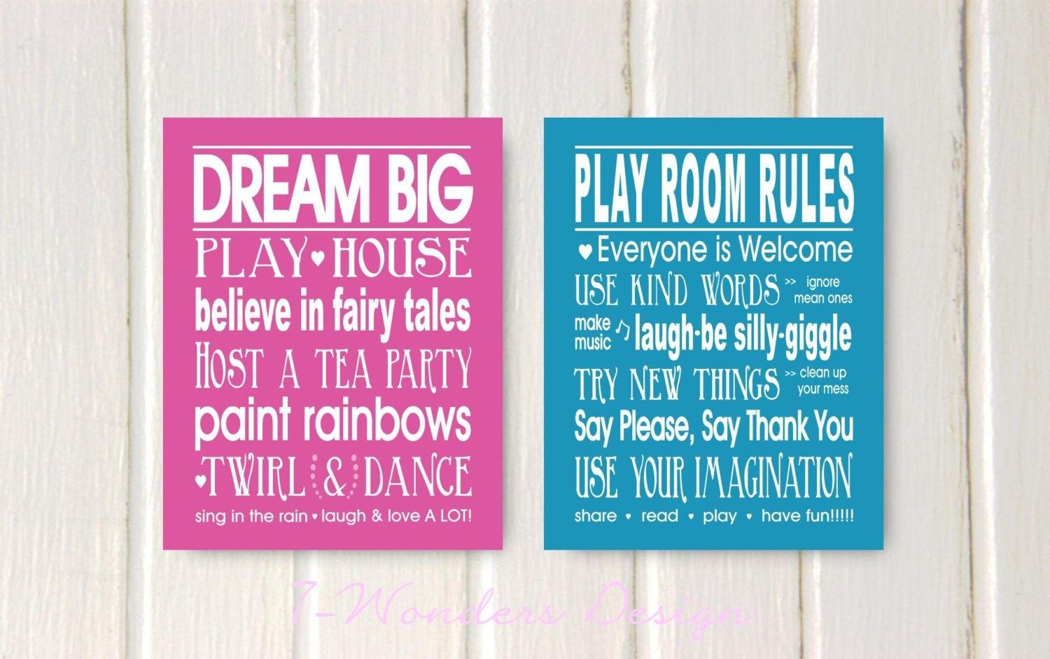 Best Girls Bedroom Quotes Dream Big And Play Room Rules Print Set With Pictures