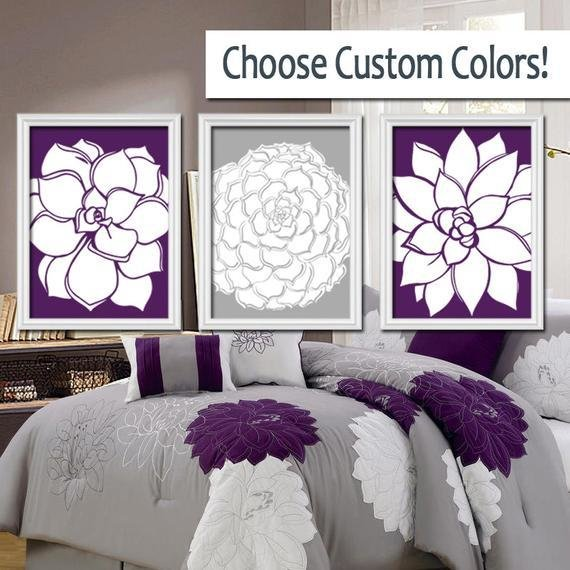 Best Grey Purple Wall Art Bedroom Pictures Canvas Or By Trmdesign With Pictures