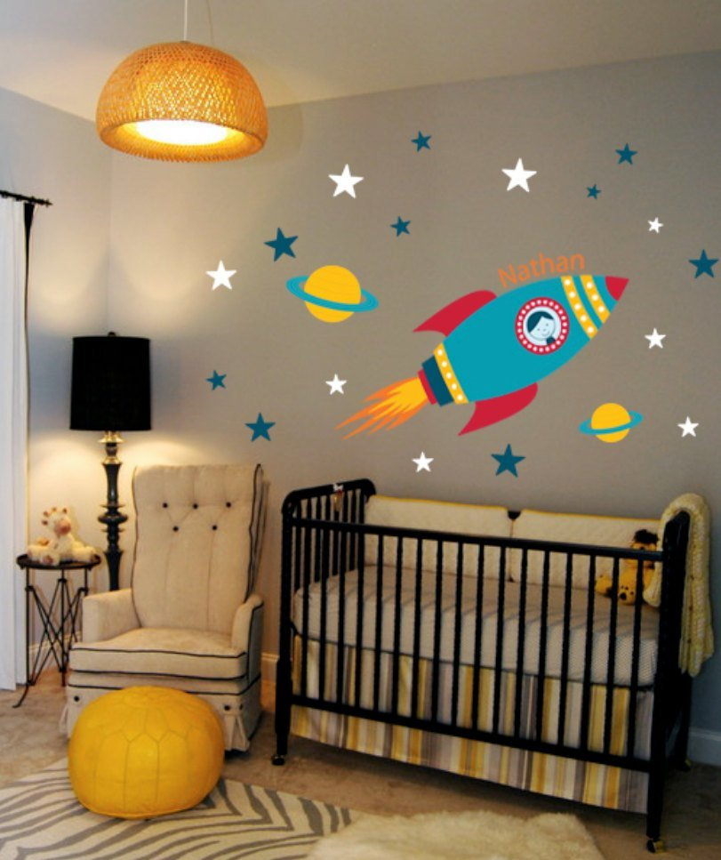 Best Rocket Wall Decal Boys Name Outer Space Kids Room Custom With Pictures