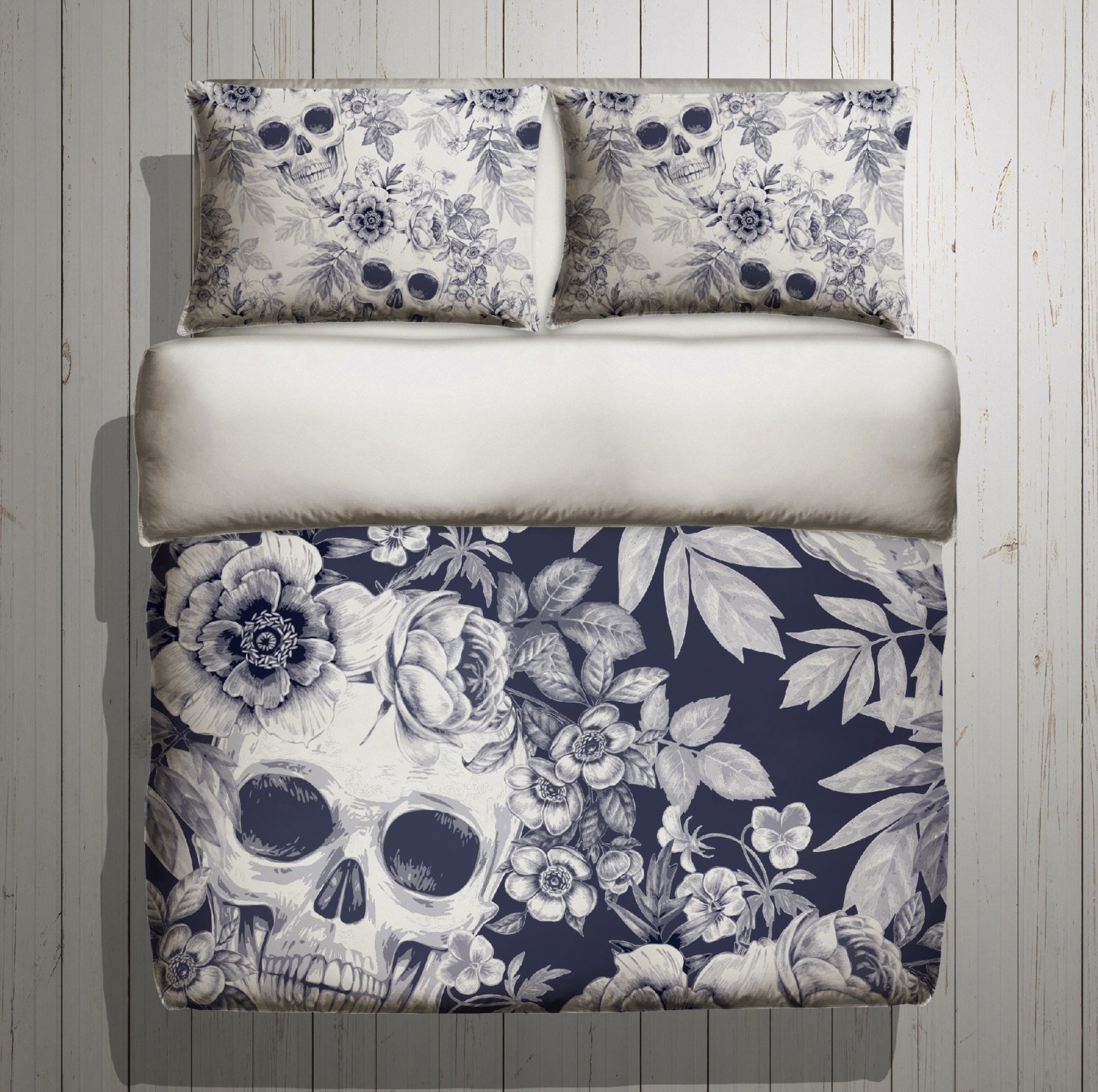 Best Skull Bedding Blue Print Mega Print With Large By Inkandrags With Pictures