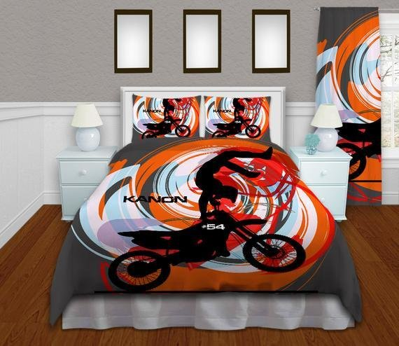 Best Orange Motocross Duvet Cover Kids Bedding By With Pictures
