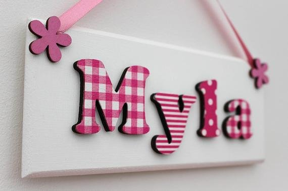 Best Girl S Wooden Door Sign Name Plaque With Pink And White With Pictures