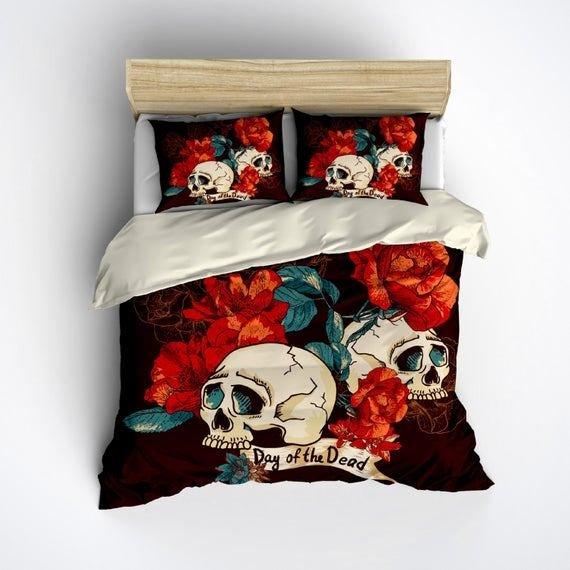 Best Featherweight Day Of The Dead Bedding Dark Brown By Inkandrags With Pictures