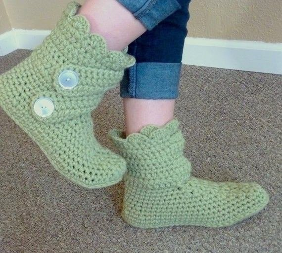 Best Items Similar To Women S Crochet Slipper Boots Crocheted Booties House Slippers Bedroom Slippers With Pictures