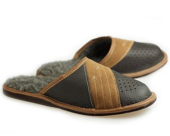 Best Items Similar To Mens Leather Slippers 100 Wool Slippers With Pictures