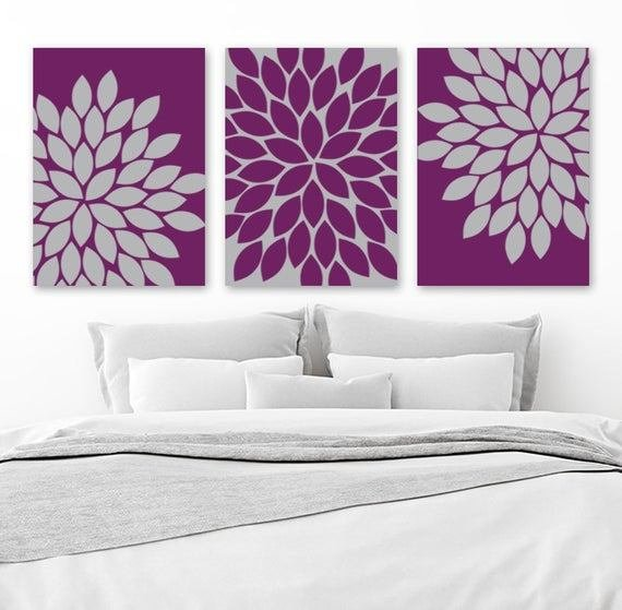 Best Purple Gray Wall Art Eggplant Bedroom Canvas Or Print With Pictures